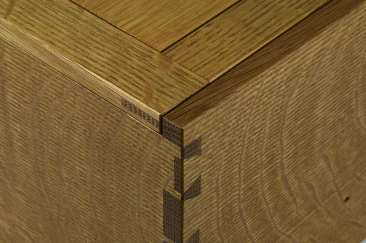 Detail of recipe box showing dovetails and panel joinery