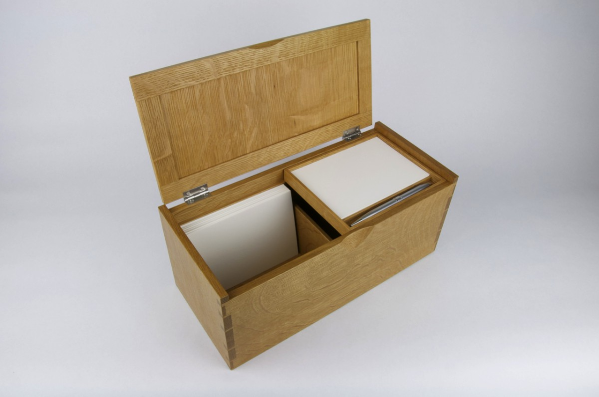 White Oak Recipe Box, Card and Pen Storage