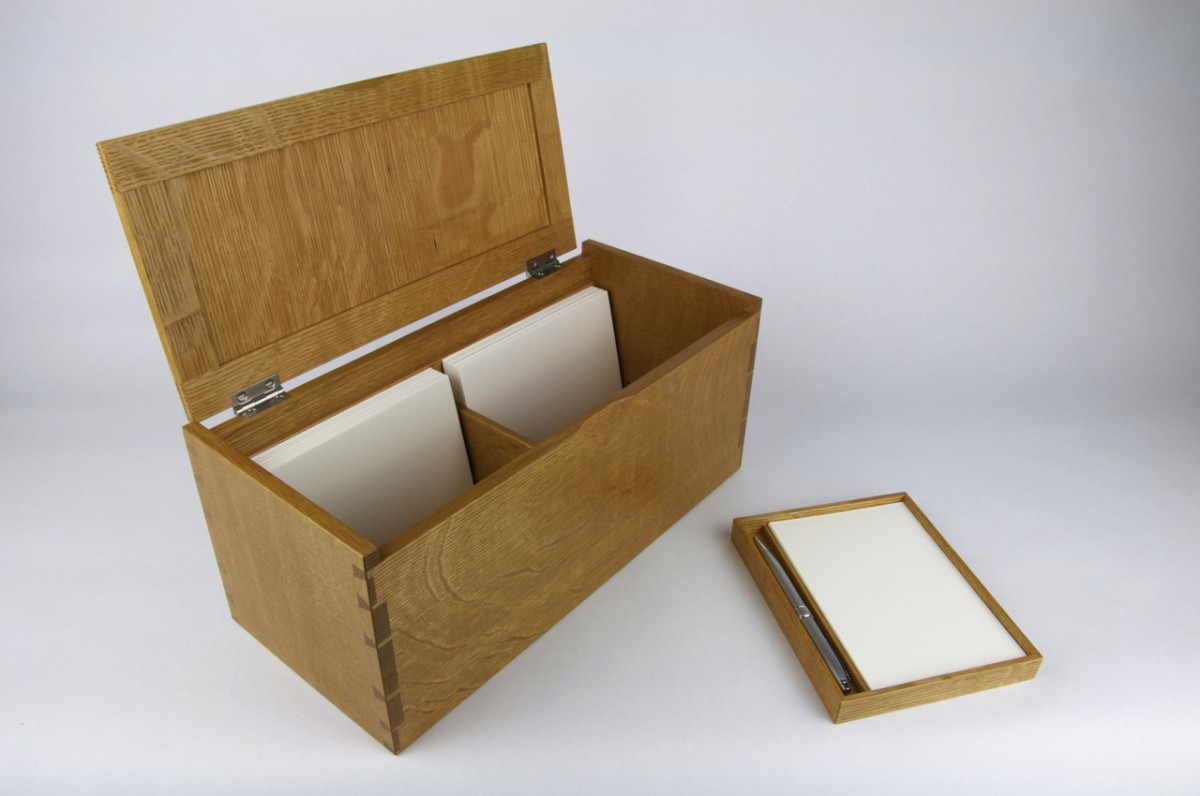 White Oak Recipe Box, Removable Tray