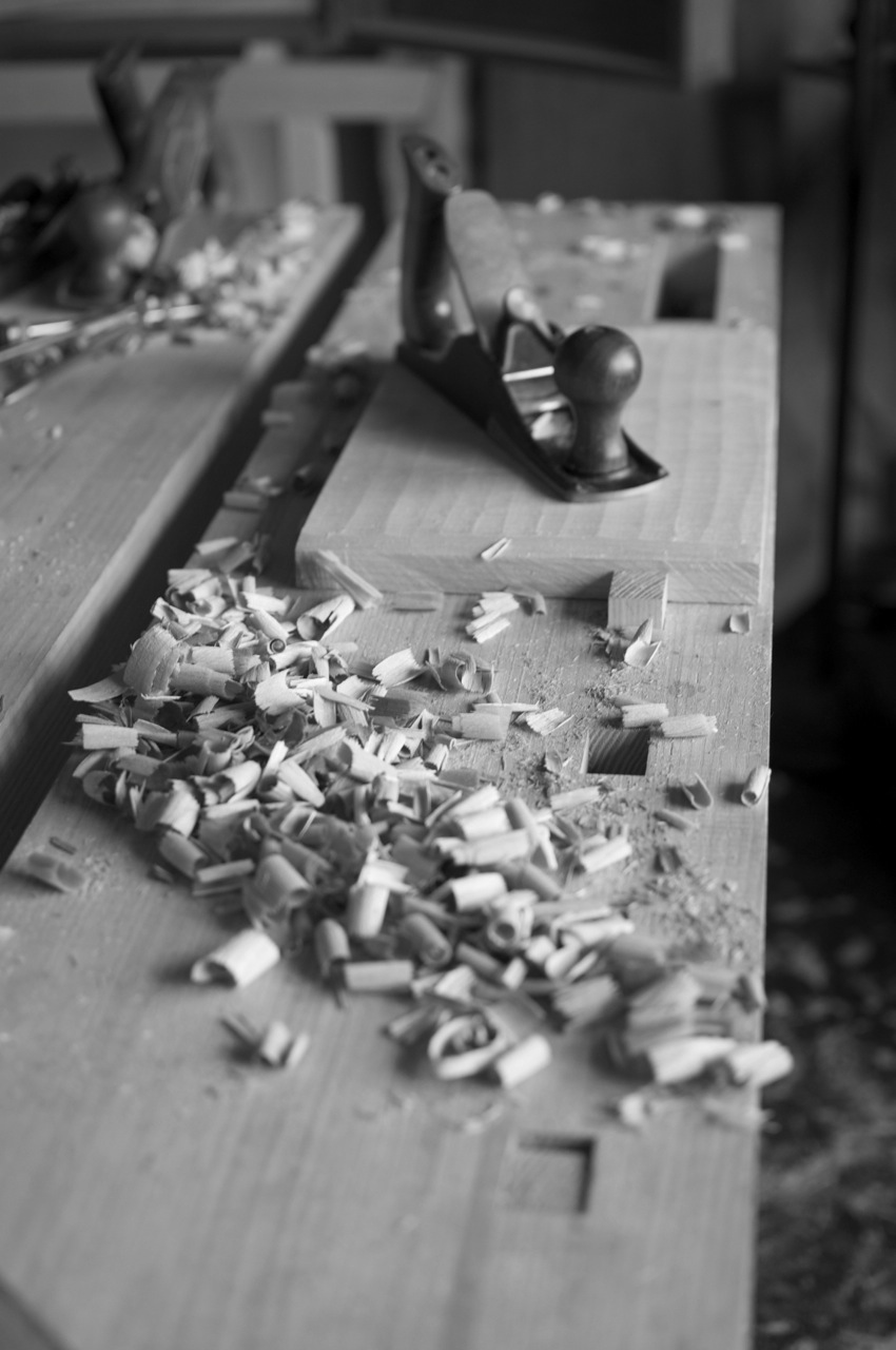 Scrub plane, board, and shavings