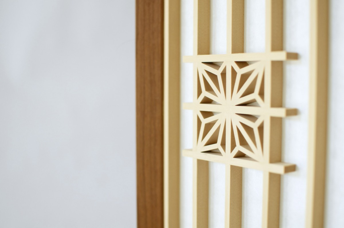 Close up view of kumiko (latticework) in a Japanese-style lamp