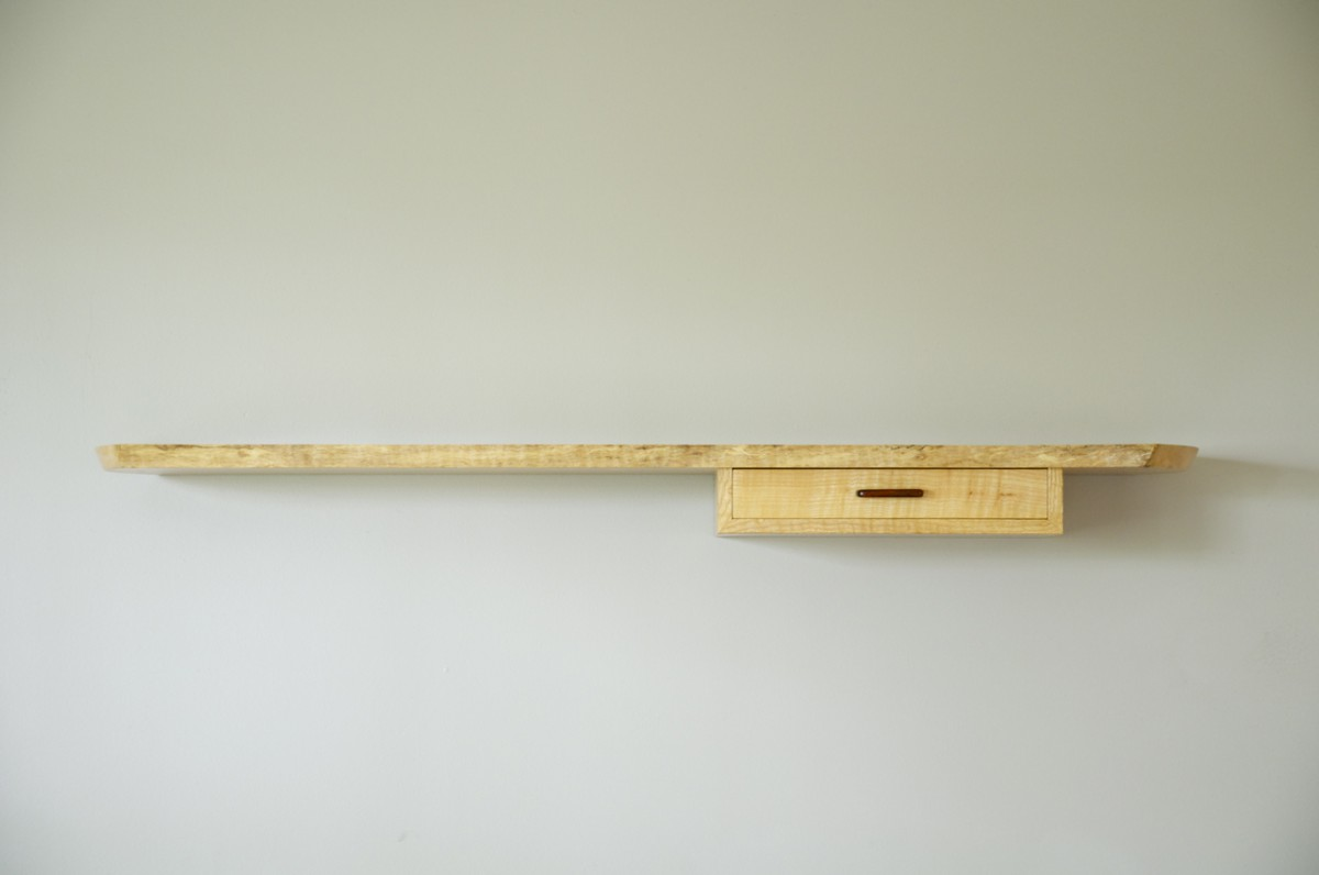 Floating, live edge wall shelf, front