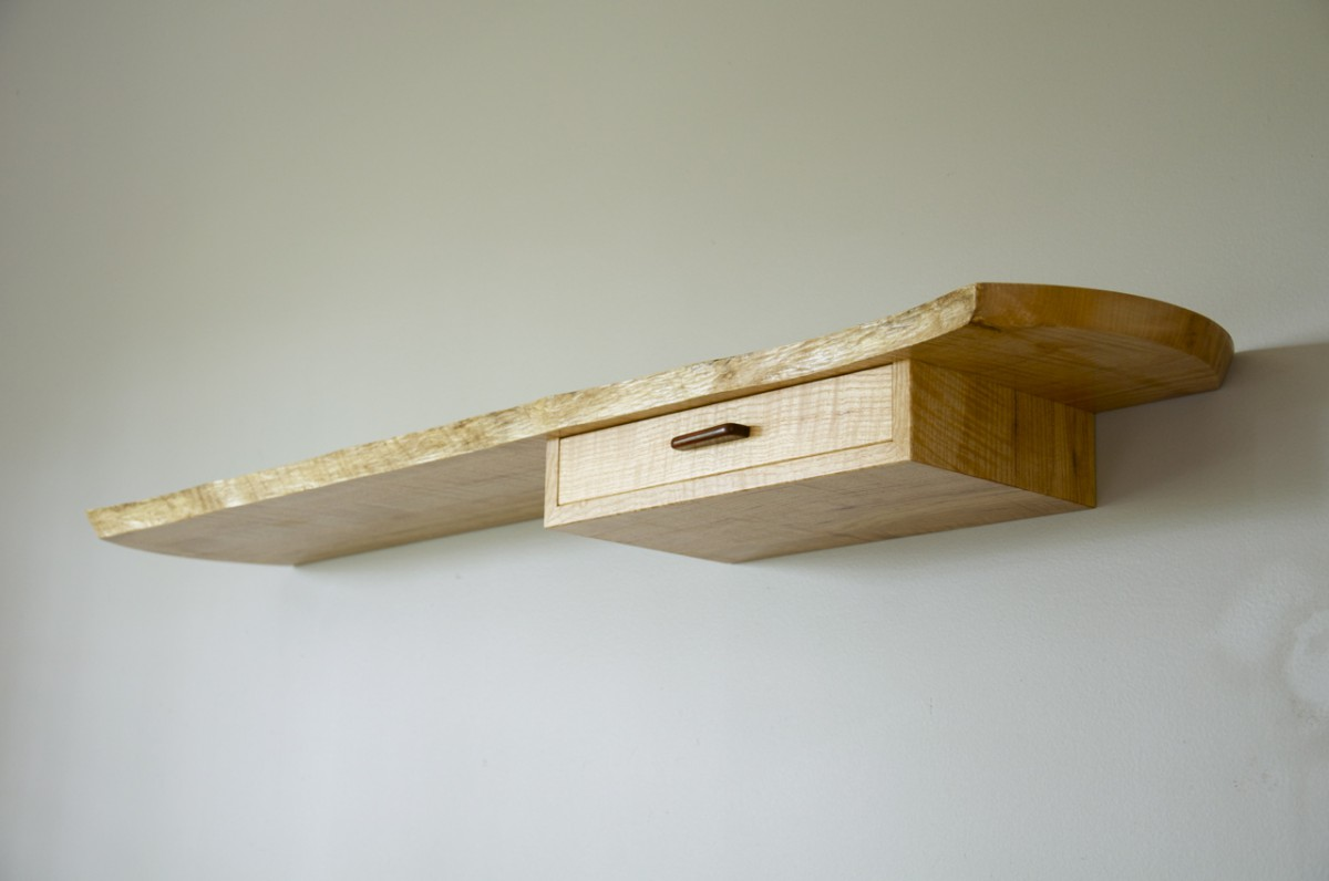 Floating, live edge wall shelf, from below