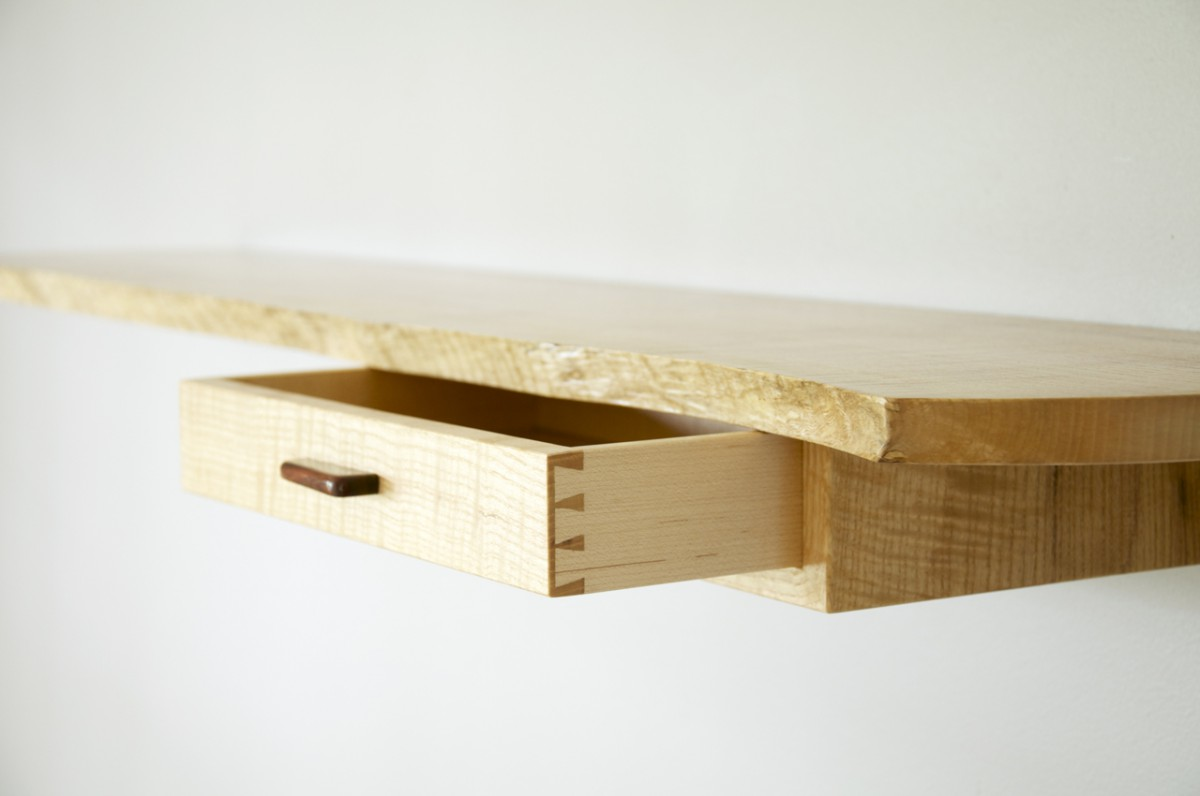 Floating, live edge wall shelf with dovetailed drawer
